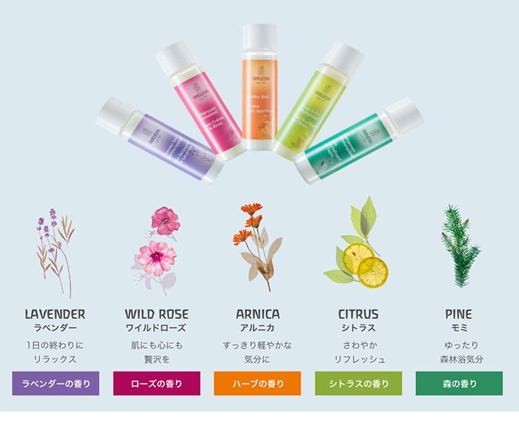WELEDA(ヴェレダ)バスミルク セット・5つの香り説明画像