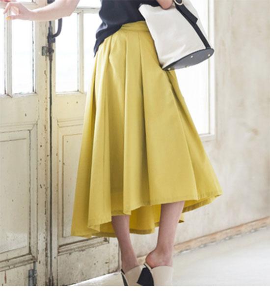 ミモレ丈・ロング丈のアシンメトリースカート画像