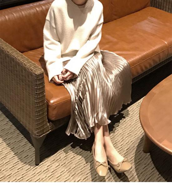 ミモレ丈・ロング丈のプリーツスカート画像